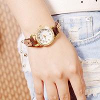 New fashion Korea velvet belt Multicolor set auger women watch Round shape elegant Watches