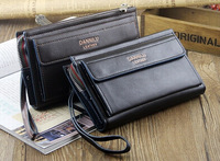 2014 New Male clutch large capacity Day clutch bag man wallet soft leather bag zipper long design