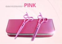 6.0 Hair Scissors set,cutting scissors & thinning scissors,pink set,Home scissors set,with case,comb,oil