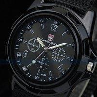 T-SPORT 2014 Hot sale Fashion Outdoor Sport quartz watches Fabric Strap Black Dial men watch wholesale
