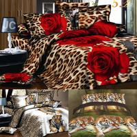Home textiles,3D bedding sets,Animal cartoon King/Queen 4 Pcs of duvet cover bed sheet pillowcase,bedclothes, silk pillowcases