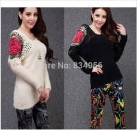 2014 New Fashion Autumn Winter Women Rose Hollow Shoulder Batwing Sleeve Pullover Lady Slim Knitting Sweater Cardigan Knitwear
