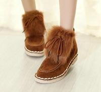 cheap hot 2014 new fashion ankle snow boots fur winter shoes women flat heel brown comfortable plush warm women Boots discount