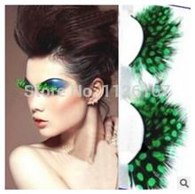 new arrival charming sweet feather false eyelash turquoise ultra long feather eyelases make up extension freeshipping