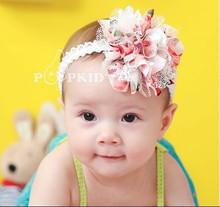 2 cores frete grátis bebê Chiffon Flor Headband Meninas Lace Headband infantil Knitting cabelo Weave bebê acessórios de cabelo A051(China (Mainland))