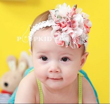 2 cores grátis frete bebê Chiffon flor Headband meninas Lace Headband infantil Knitting cabelo Weave bebê acessórios de cabelo A051(China (Mainland))