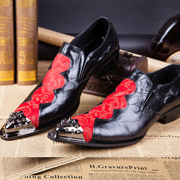 Fashion Runway Stage Men Dress Shoes Genuine Leather Lovely Cartoon