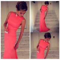 2014 Autumn Trumpet Women Summer Dress Solid Pink Bodycon Maxi Prom Party Sexy Club Evening Dovetail Long Dress