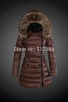 2015 New Arrival Winter Jacket Women Down Coat Brand Big Fur Hood Women Down Jacket Brown KhakiBlack Top quality Lady Down Parka