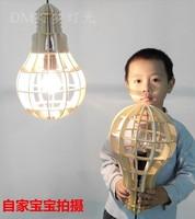 Retro classic chandelier E27 Pendant lamp pendant Wooden bulb holder Edison diy lighting accessories messenger wire