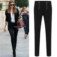 new 2014 summer autumn woman lady capris pencil solid pant trousers long skinny cotton zipper casual stretch plus size S~3XL