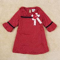 Free Shipping Nova Brand Girl Dress Half Sleeve Petticoat For Girl With Beautiful Flower Kids Dot Pattern Children Wear H5096