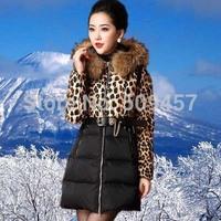 New 2014 Winter Duck Down&Parkas Women Female Jackets With Natural Fur Collar Long Leopard Coat Casacos Jaqueta Inverno Feminina