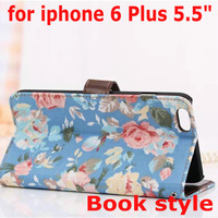 """For Apple iPhone6 Plus 5.5"""" Elegant Flower Print Fabric + PU Leather Magnet Magnetic Credit Card Holder Wallet Stand Case Cover"""