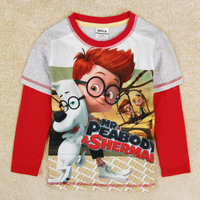 FREE SHIPPING Nova boys outwear T-shirt and children's hoodies clothing with Mr Peabody and Sherman casual wear for boys A5156D