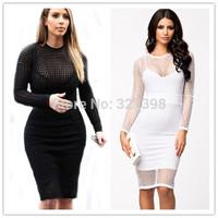 Long Sleeve Black / White Netted Cutout Midi Dress ( M / L) 06469 Fashion Women 2014 New Vintage Dresses Clothing Frozen