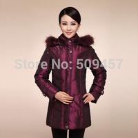 2014 Top Fasion Hot Sale No Winter Women Medium Long Thicken Collar Overcoat Cotton-padded Jacket Coat
