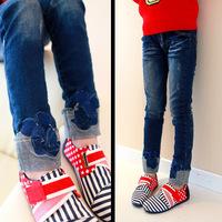 Kids Girls Autumn girls Fold trousers children flash mouse cartoon Mickey pants jeans Fold  flanging feet