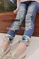 Boys hole patch kids paste drill glitter zipper autumn version influx children jean straight jeans long pants boy Trousers pants