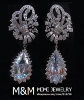Luxury AAA Cubic Zirconia  Zircon Water Drop Earrings Fashion Bridal Wedding Dinner Party Accessories