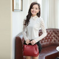 Free Shipping high quality snow fall diamond doll collar Hubble bubble sleeve lady bottoming shirt