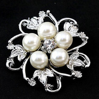 Free Shipping 2014 New Wholesale Brooch Pins Flower Simulated-pearl Rhinestone Brooches Broches,  A205