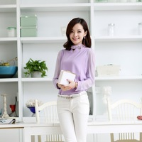 Free Shipping high quality sexy female temperament printing long sleeved chiffon shirt