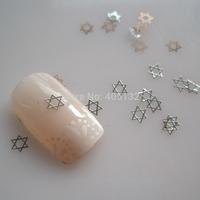 MS-323-1 Free Shipping Metal Silver Star Nail Art Metal Sticker Nail Art Decoration Fancy Outlooking