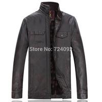 Brown PU winter leather jacket men casual fleece jaquetas de couro 4XL 6XL SIZE jacket men mens motorcycle jacket BW5