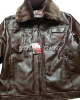 Brown PU fur coat winter leather jacket men casual fleece short paragraph jaquetas de couro 4XL 5XL mens motorcycle jacket BW5