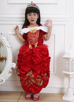 Free shipping luxury girls childrens red belle princess fairy tale dress girl medieval halloween