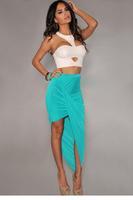 4 Colors Women's Fashion Clothes Blue Cotton Asymmetrical Draped Sexy Skirt   LC71065 Autumn vestido de festa