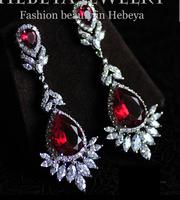 Luxury Sparkling AAA Cubic Zirconia Red Corundum Zircon Big Water Drop Earrings Fashion Bridal Wedding Dinner Party Accessories