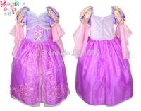 rhinestone high quality cotton lining Rapunzel childrens girls costume ballet princess dress fairy tale dress festival halloween