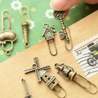 Stationery gustless zakka clip paper clip vintage metal bookmark