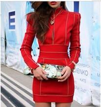 2014 otoño invierno nuevo rojo grils cuello alto manga larga cremallera frontal celebridad fiesta vendaje bodycon noche de baile vestido al por mayor(China (Mainland))