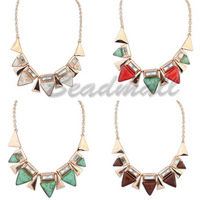 Vintage retro geometry punk Crystal  triangle Statement Pendant short design choker Chunky fashion necklace for women 2014