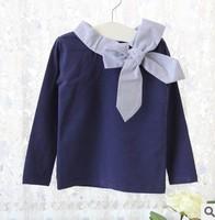 new arrival 2014 children girl fashion blue white long sleeve big plaid bow t shirt kids girl autumn winter  t-shirt clothes lot