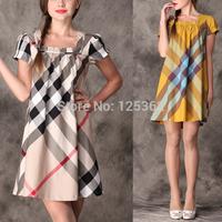 Free Shipping!Designer brand vestidos fashion khaki/yellow plaid cotton dress plus size