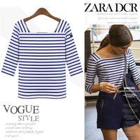 2014 new Spring t shirt women's fashion half sleeve navy striped cotton T-shirt Tops extra size S-XXL