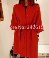 2014 New gagaopt woman trench brand designer zippers adjustable waist autumn winter outwear elegant wool long female coats