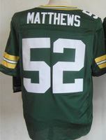 Free Shipping Men American Football Jersey, #52 Clay Matthews Jerseys White,Green Stitched Embroidery Logo, Accept Mix Order