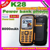 Free shipping 8000mAh big battery K28 Russian keyboard power bank Mobile phone shockproof dustproof outdoor Dual Sim 3D sound