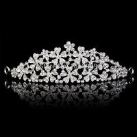 Pretty Bridal Crown Wedding Hair Jewelry Crystal Pearl Tiara Crown Comb Free Shipping