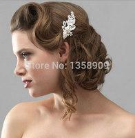free ship fashion flower leaves comb bridal hair accessories wedding jewelry rhinestones crystal pearl pins handmade combs