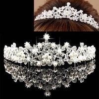 New Stylish Pretty Silver Crystal Rhinestone wedding bridal crown tiara Free Shipping