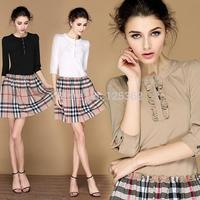 Free Shipping!Designer brand vestidos plus size women dresses plaid dress mid-sleeve
