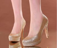 023 Wholesale! Wedding shoes Thin Heels Round Toe 8cm Women Pumps dance Party shoes Platform Gold/White Size33-40