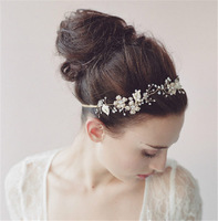 Art Handmade Bridal Wedding Hair Decoration Crystal Rhinestone Pearl Flower Headband Headwear Tiara Free Shipping