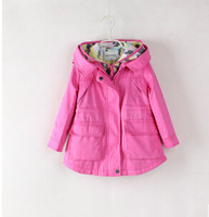 Free shipping - explosive device - 2014 autumn new fund Girls hooded double zipper trench coat foreign trade children's clothes